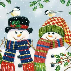 Ambiente Paper Napkins, Pack of 20, 3-ply Lunch Size Snowman Couple