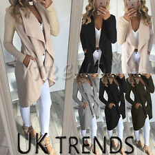 UK Women Ladies Long Sleeve Waterfall Cardigan Trench Long Coat Duster Jacket