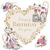 Happy Birthday Cats Handmade Embellished Greeting Card By Talking Pictures Cards