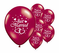 """30 JUST MARRIED BURGUNDY 12"""" HELIUM QUALITY PEARLISED WEDDING BALLOONS (PA)"""