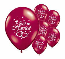 """10 JUST MARRIED BURGUNDY 12"""" HELIUM QUALITY PEARLISED WEDDING BALLOONS (PA)"""
