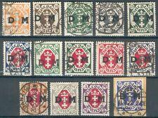WWII Danzig Lot/Posten aus Mi.-Nr.1-14o komplett (MICHEL € 300,00) BPP geprüft