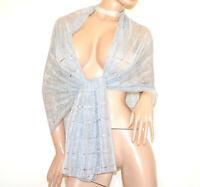STOLA ARGENTO foulard maxi donna coprispalle sciarpa velata scialle elegante G64