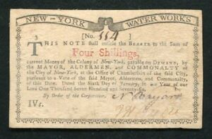 "NY-183 JANUARY 6, 1776 4s FOUR SHILLINGS NEW YORK ""WATER WORKS"" COLONIAL NOTE"