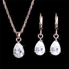 18K Rose Gold Filled Clear White Pear Shape Teardrop CZ Necklace & Earrings Set