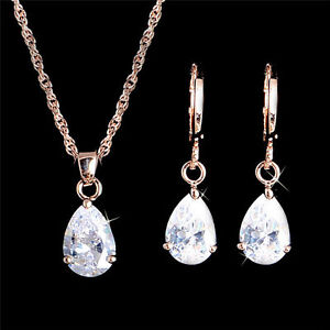 Pretty New Rose Gold Plated Clear White Teardrop CZ Necklace & Earrings Set