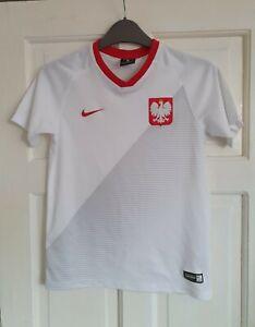 POLAND Home Football Shirt 2018/2019. Kids Size 10-12 Years Nike. White VGC