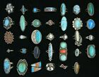 ESTATE/VINTAGE Lot 34 Sterling Silver Rings Native American Turquoise Coral MOP