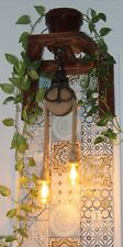 Toscane Vintage Cast Iron Wood Barn Pulley Light with Hemp Rope Pendant Light