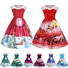 Women's Girls Santa Christmas Lace Dresses Rockabilly Xmas Retro Swing Dress AU
