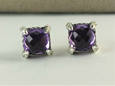 David Yurman Silver Chatelaine Stud Earrings with Amethyst and Diamonds