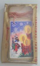 VINTAGE DENNISON CHRISTMAS TAGS - 5 CANDLES - ORIGINAL CELLOPHANE PACKAGING