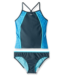 Speedo Girls Heather Splice Tankini Set Gray Size 14 1872
