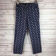 GAP KIDS Girls Boho Pull On Pants Size 5 Floral Print Navy Blue Elastic Waist