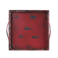 Antique Red Finished Metal Wood Artisanal Square Tray Holiday Wedding Gift Decor