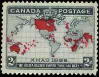 Canada #85 mint VF OG NH 1898 Map/Xmas 2c black,lavender & carmine CV$180.00