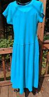 Vintage 80's Liz Claiborne Collection Dress Blue Womens Sz S Stretch Knit