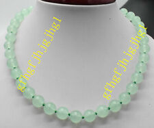 10mm-12mm  Natural Green Emerald Round Gems Necklace 18-100'' 925 silver clas