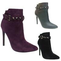 NEW LADIES WOMEN PEEP TOE STUDDED BOOT STILETTO HEELS SHOES 3-8