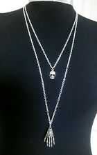 """Skeleton Hand & Skull Charms Layered Necklace Minimalist Silver Tone 30"""" Chain"""