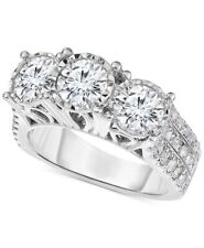White Natural Diamond Women's 3-Stone Ring 14K White Gold 1.60Ct Round Cut