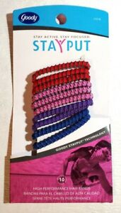 Vintage New 2005 Goody Stayput High Performance Hair Bands Hair Ties Pack of 10