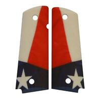 Custom Full Size 1911 Grips Ambidextrous Texas Flag for Colt Kimber Ruger etc.