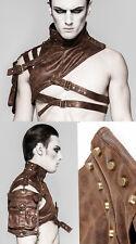 Harnais collier pochette cuir gothique punk steampunk mode Punkrave Homme Café