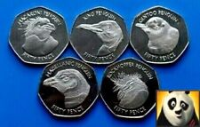 🐧 2018 FALKLAND ISLANDS 50p Fifty Pence Penguin Uncolored Coin Set Collection