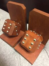 GENUINE REAL LEATHER - BROWN DICE BOOKENDS - BOOK ENDS - SHOWPIECES - GIFT - NEW