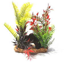"""New listing Volcanic Rock Tunnel with Plastic Plants in Resin Gravel 5"""" x 2"""" x 7"""" Tall New"""