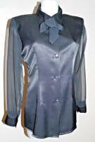 chemisier T40/42 soirée col foulard voile bluse lavallière mairmaid l xl 6!