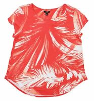 Alfani Brush Stroke Leaves Printed Short Sleeve Women's T-Shirt Top NWT