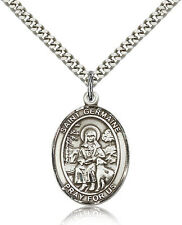"""Saint Germaine Cousin Medal For Men - .925 Sterling Silver Necklace On 24"""" Ch..."""