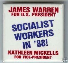 1988 President pin THIRD party SOCIALIST workers WARREN