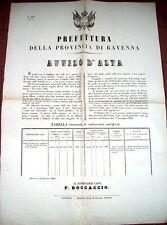 1861 MANIFESTO SULLA CHIUSA DEL FIUME SENIO PRESSO COTIGNOLA NEL RAVENNATE