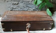 RARE WOODEN & BRASS INLAY INDIAN MUGHAL HANDCRAFTED PEN/Pencil BOX 5 COMPARTMENT
