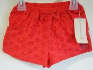NWT Macy's First Impressions Red Eyelet Front Shorts Girl's Size 12 Month