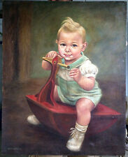 """30"""" ANTIQUE ADORABLE SIGNED OIL PAINTING CHILD ROCKING TOY AMERICANA BOY MERRILL"""