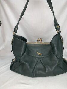 Emma Fox Kiss Lock Green Leather Handbag Satchel