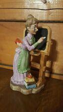 "Vintage Lefton Teacher Figurine at chalk board Japan XU 401 7-3/4"" T"