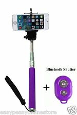 6New Purple Extendable Wireless Bluetooth Selfie Stick Monopod Iphones Android