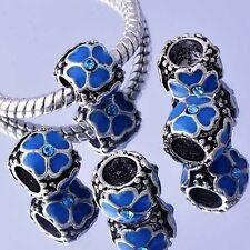 Tibet 5Pc Silver Plated Blue Enamel CZ BEADS For European DIY Fit Snake Bracelet
