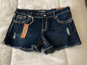 Amethyst Jeans dark wash  Blue Denim Shorts size 13 low rise NWT