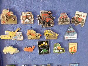 lot de pin's sur les tracteurs et engins de chantier