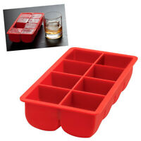 "Big Block Silicone Ice Cube Tray Large 2""X2"" Red Party Bar Cocktails Drink Mold"
