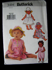 Butterick's Sewing Pattern 3404 Infants Dress Rompers Hat Sz NB - Med Uncut