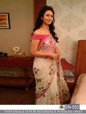 Bollywood Designer Party Wear Cream Color Net Fabric Heavy Bridal Thread Saree
