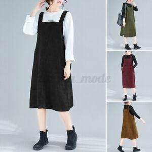 Women Sleeveless Bib Overalls Dungarees Solid Corduroy Long Midi Dress Plus Size