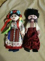 "Ethnicly Dressed 12"" Tall Russian / Ukranian Handmade FABRIC / Cloth Plush DOLLS"